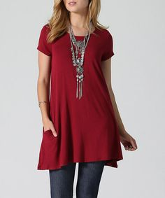 Loving this Burgundy Side-Pocket Swing Tunic on #zulily! #zulilyfinds