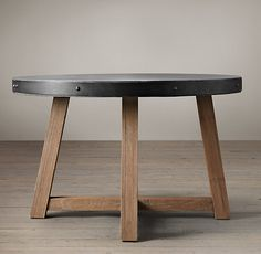 Salvaged Wood & Concrete Round Beam Table