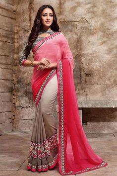 LadyIndia.com #Designer Saree Sarees, Pink & Beige Designer Wear Georgette Saree with Raw Silk Blouse, Designer Saree Sarees, https://ladyindia.com/collections/ethnic-wear/products/pink-beige-designer-wear-georgette-saree-with-raw-silk-blouse