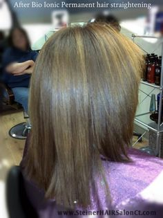 before and after photo of bioionic permanent hair straightening at steiner hair salon rocky hill ct, hair salons near me