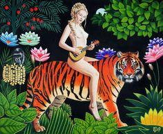 Tribute to Rousseau - Daniel Porada Art Auction, Paintings For Sale, Home Art, Surrealism, Disney Characters, Fictional Characters, Artwork, Female, Board
