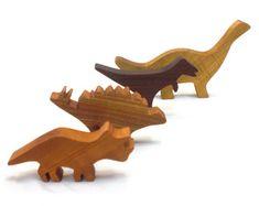 Wooden Dinosaur Toy Set Waldorf wood dinos от Imaginationkids