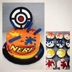 Nerf cake and nerf cupcakes for a 9 year olds birthday party.