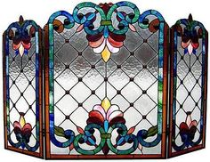 """Dramatic Glow Fire Place Screen Stained Glass Panel 44"""" Width 1B912BV44 GFS 