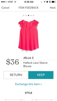 Jella C Halleck Lace Sleeve Blouse in Hot Pink