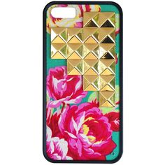 Teal Rose Gold Studded Pyramid iPhone 5/5s case ($35) ❤ liked on Polyvore featuring accessories, tech accessories and phone cases