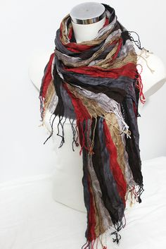 Men Linen scarves, Red Gray Scarf, Ethnic scarves, Striped scarf men, Men linen scarf, Red black beige scarf, Men gift, Men Christmas gift. This beautiful scarf is made from 100 % natural fabrics and organic fabrics Turkey. It is suitable for sensitive skin. It certainly does not allergies. Admire the beautiful flowing fabrics. Very harmonious colors and smooth color transitions. Natural wrinkled appearance is very suitable for a bohemian style clothing. With unisex designs and colors that...
