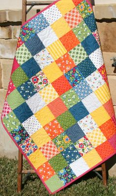 """This Quilt Kit features fabrics from Best Day Ever by April Rosenthal for Moda Fabrics. Quilt top will measure approximately 41"""" x 45.5"""" and will be 9 by 10 charm squares. Basic instructions on how to complete this quilt kit are included. Kit includes: 3 charm packs of Best Day Ever (you will have 36 extra squares left over to help with fabric placement or make another project.) 13 inches for binding, (seen on quilt) 52 inches for backing, (seen on quilt) With all coordinating fabric this…"""