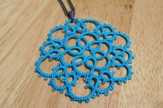lace tatted necklace turquoise lace necklace gypsy by MamaTats