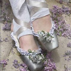 Beautiful Silver Pointe Shoes with Flowers