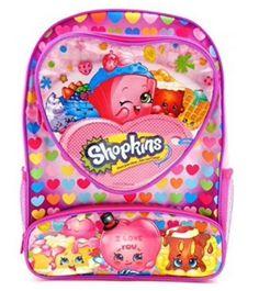 "Shopkins Backpack 16"" Heart Shaped Pocket Girls School Bag #Shopkins"
