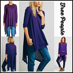 """FREE PEOPLE Tunic Mini Draped Oversized  NEW WITH TAGS   ***Model photos utilized in this listing were found on www.lyst.com Free People Mock Neck Swing Top Tunic A-Line  Mini  * Relaxed & flowy fit; Lightweight loose knit fabric,  semi pleated  * Mock neck turtleneck long sleeves  * Lightly 'washed feel'  * About 33"""" long  * Hem drapes longer on sides  Fabric: 53% Cotton, 37% & 10% Rayon Color: Purple Deep Lilac 94500  No Trades ✅Offers Considered*✅ *Please use the blue 'offer' button to…"""