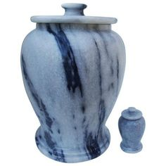 Urnporium URN-SET-G-MS Gray Marble Adult Funeral Cremation Urn for Ashes With Matching Keepsake