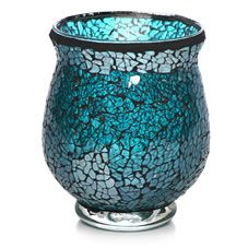 Large image of Wilko Mosaic Mini Storm Lamp Teal - opens in a new window Bathroom Ornaments, Mosaic Vase, Teal Colors, Colours, Home Trends, Art Furniture, Burning Candle, Something Blue, Glass Bottles