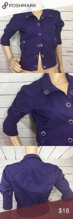 """Miley Cyrus Jacket Purple Miley Cyrus cotton jacket with silver snap buttons. Bust 38"""", length 19"""" sleeve three-quarter length 15.5"""" great condition some minor wear miley cyrus Jackets & Coats Utility Jackets"""