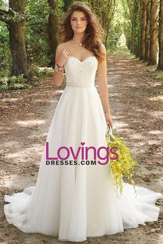 2016 A Line Wedding Dresses Sweetheart Organza With Applique And Beads US$…