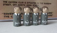 """Check out the Fab Four! These are handpainted on wooden pegs, created by """"Kimmy"""" from scrambledpegs.etsy.com"""