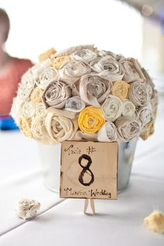 Fabric Flower Bouqet Centerpeice by PrettyPrettyPieces on Etsy Fabric Bouquet, Fabric Flowers, Burlap Flowers, Paper Flowers, Floral Centerpieces, Wedding Centerpieces, Centerpiece Ideas, Flower Arrangements, Diy Wedding