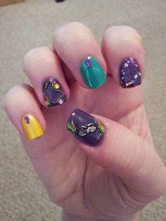 Mardi Gras nails with micro beads! - Imgur