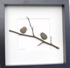 Beautiful pebble picture with the popular little pebble birds sitting on a branch motif using a mixture of natural materials. This picture is made in the Scottish Borders using natural materials gathered locally. Using natural materials means that no two pictures will ever be quite the same, making this a completely unique addition to any room. The picture size, including frame, is 25x25cm If you are outside the UK, please contact me for shipping costs. All parcels will require a signatur...