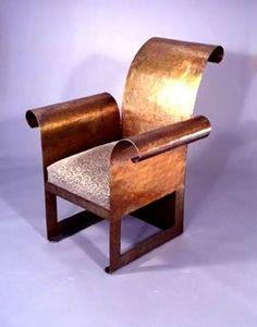 Jules Bouy / Art Deco Sculptural Steel Chair / New York, c Weird Furniture, Art Deco Furniture, Metal Furniture, Cheap Furniture, Unique Furniture, Furniture Design, Furniture Ideas, Art Nouveau, Love Chair
