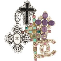 Chanel Crystal Cross CC Brooch ($1,795) ❤ liked on Polyvore featuring jewelry, brooches, gold, chanel jewelry, crystal brooch, gold tone jewelry, chanel brooch and chanel jewellery