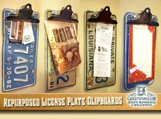 GadgetSponge.com - Repurposing, Upcycling, Birds & Nature - Repurposed License Plate Clipboards