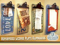 GadgetSponge.com - Repurposing, Upcycling, Birds & Nature - Repurposed License PlateClipboards