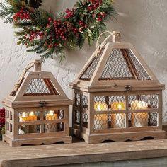 Chicken Wire and Wood Lanterns, Set of 2