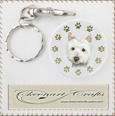 Cute West Highland White terrier dog and Paws  Art Key chain Available to purchase at £2.50, great gifts for Westie lovers! http://www.ckeenartcrafts.webs.com/