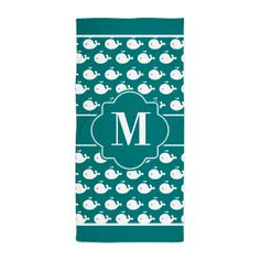 Teal and White Dolphins Custom Monogra Beach Towel