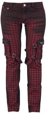 "Black Premium by EMP Cloth Trousers, Women ""Strap Pocket"" red-black • EMP"