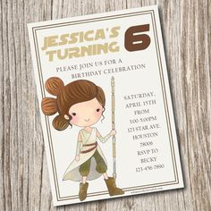 Star Wars Invitation Girl Rey By JeannineAubreyDesign Birthday Parties