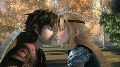 Hiccup and Astrid about to kiss from Dreamworks Dragons Race to the Edge. I wish this could've happen in the series because this scene looks so romantic! <3