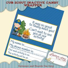 Latter-day Chatter: Cub Scouts Inactive Candybar Wrapper