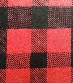 Snuggle Flannel Fabric-Tomato Check