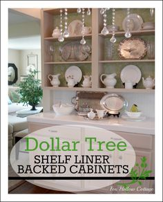 DIY Kitchen Decorating Update Idea: Dollar Tree Shelf Liner Backed Cabinets - Perfect for Renters and Small Budgets!!