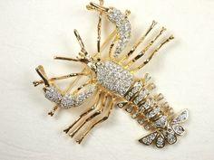 Large Lobster Articulated Rhinestone Figural Animal Pin Brooch | eBay
