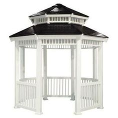x 10 ft. Gazebo - Create your own backyard sanctuary with this white octagon gazebo made from durable rigid resin that has a design roof with slate colored shingles, decorative railing and accent on roof. Wisteria Pergola, Gazebo Pergola, Building A Pergola, Garden Gazebo, Pergola Plans, Pergola Kits, Pergola Ideas, Gazebo Canopy, Patio Roof