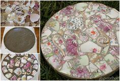 Broken China Mosaic Garden Stones   The WHOot