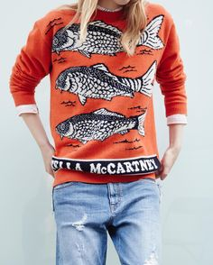 Stella Sea Bass, anyone? Wear them, don't eat them this #MeatFreeMonday!  Discover intarsia knits from the new collection at #StellaMcCartney.com.