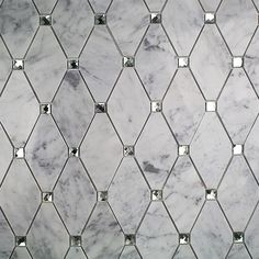 Reflection Diamond White Carrera and Mirror Marble and Glass Tile