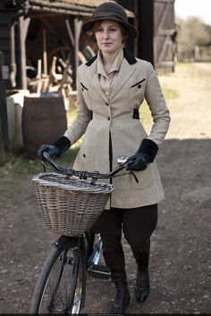 Downton Abbey, Edith. I just bought a wicker bicycle basket! I'm in! :-)