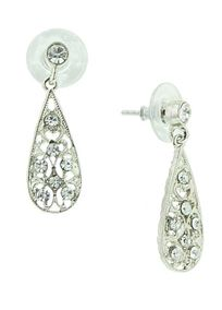 """These delicate earrings are perfect for either your big day, or any day you want to feel romantic and lovely.   Dazzling clear crystals set atop surgical steel posts begin the design, flowing gracefully into intricate silver tone filigree.  The pattern is enhanced with a twinkling group of diamond hue crystals.  Measures 1.25 """"."""