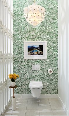 In their DXV Design Panel vignette, Pulp Design Studios opted to use the Seagram Wall-Hung Toilet as a gallery piece, creating a segregated space using partitions reminiscent of Palm Springs concrete blocks. Chandelier by Bad Inspiration, Bathroom Inspiration, Bathroom Ideas, Bathroom Storage, Bathroom Designs, Bathroom Organization, Bath Ideas, Bathroom Baskets, Bathroom Rules