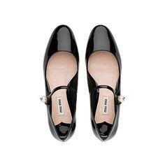 Patent Leather Mary Jane Ballerinas MiuMiu BLACK
