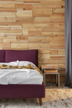 Apartment Upholstered Purple Bed White Sheet Light Brown Reclaimed Wooden Headboard Wall Contemporary Furniture Modern Industrial Bedroom Industrial And Scruffy Stylish Bachelor's Apartment