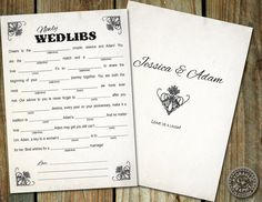 Newly Wed Madlibs - fun to use for a party favor or guest book alternative for wedding with steampunk elements - customize. $25.00, via Etsy.