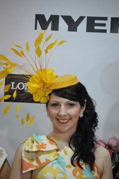 I love hats  the structure of this canary yellow hat is clever. Love the  pillbox base. - Fashions on the Field Melbourne Cup Day with Racing Fashion cae6e74d730