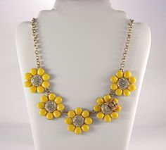 Yellow Sunflower Necklace Summer 2017 Trend Enamel Flower Choker Bright Funny Gift Idea For Her Betsey Johnson Lady Bug Beach Modern by VintageForAges on Etsy